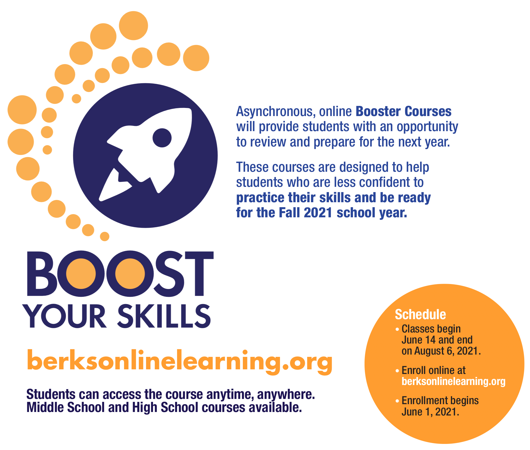 2021 Summer Booster Courses Available. Keep Reading for More Information